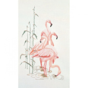 Flamingoes On Linen Counted Cross Stitch Kit-38cm x 60cm 32 Count