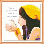 Rabbit and cross stitch embroidery kit girl