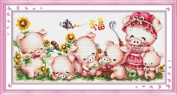 Cross stitch embroidery kit HAPPY PIG'S FAMILY