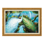 Pair of Peacock 3D Stamped Cross Stitch Kit - 100cm By 70cm