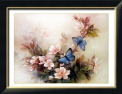 Flower and cross stitch embroidery kit blue butterfly