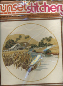 Vintage 1978 Sunset Stitchery Embroidery Kit - Summer Wheat Fields Designed by Charlene Gerrish - A secluded farm and quiet stream neslted among golden hills create the feeling of a warm summer day.