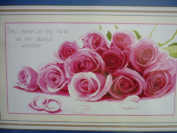 Cross stitch embroidery kit beautiful pink rose red