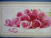 Cross stitch embroidery kit beautiful pink rose red