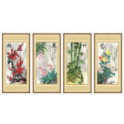 Chinese Four Noble Plant Plum (Plum orchid, bamboo and chrysanthemum) 3D Stamped Cross Stitch Kit - 140cm By 70cm