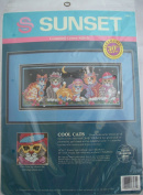 Sunset Cool Cats Counted Cross Stitch Kit Judy Vilcheck 41cm x 18cm