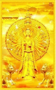 Cross stitch embroidery kit golden multiarmed deity Bodhisattva