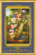 Cross stitch embroidery kit peacock peony