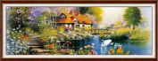 Landscape of cross stitch embroidery kit panorama river banks