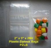 Clear Plastic 5.1cm x 7.6cm Ziplock Bags 2 Mil