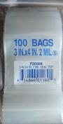 100 Clear Plastic 7.6cm x 10cm Ziplock Bags 2 Mil