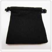 """25x Black Velvet/Velour Jewellery Gift Pouch 7.6cm x 10cm Drawstring"""""""