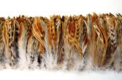 7.6cm NATURAL CHINCHILLA HACKLE Feather Fringe 10cm - 15cm