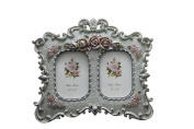 MegaShopping Baroque Garden Style Photo Frame (6.4cm x 8.9cm Double) Free Standing