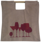 LadyBagsSF Jute Shopping Tote Bag with Bamboo Handles