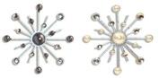 Karen Foster Design Sparkle Burst Brads Embellishments Pearls, 6 White and Black