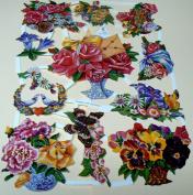 Vintage German scrap, floral 7039