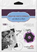 3L Scrapbook Adhesives Self-Adhesive Creative Paper Photo Corners, Black, 108-Pack