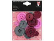 Love You More Button Pack 16/Pkg-Push My Button - 3 Assorted Colours/Sizes
