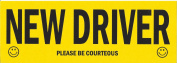 """New Driver Please Be Courteous"" Decal, Large, Black and Yellow"