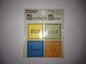 Sun Sand Sea Monday's Metals Square Scrapbook Stickers