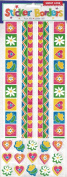 Sweet Love Hearts and Flowers Borders Scrapbook Stickers