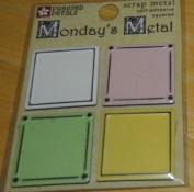 Pastel Squares Monday's Metals Scrapbook Stickers