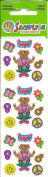 Teddy Bear Peace Love Groovy Sparkle Scrapbook Stickers