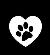White Heart Dog Print 3.5 x 3.5 Sticker decal. No background.