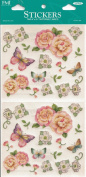 Rose and Butterflies Scrapbook Stickers