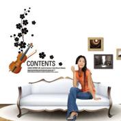 Music Violin Flower Removable Wall Vinyl Sticker Decals Wallpaper LW5737