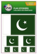 Pakistan Country Flag Set of 7 Different Size Collection Decal Stickers ... New in Package