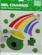 Pot O' Gold Rainbow Shamrocks St Patrick's Day Glitter Infused Gel Window Clings