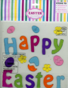 Happy Easter Decorated Eggs Gel Window Clings