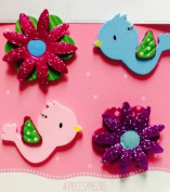 4 Wooden Decorations ~ Birds & Flowers ~ Ornament ~ Arts & Crafts Scrapbooking Embellishment ~ Frame Decor ~ Album Cover Art ~ Craft Pieces