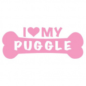 I Love My Puggle Dog Bone Vinyl Decal Sticker in 15cm wide