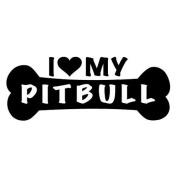 I Love My Pitbull Dog Bone Vinyl Decal Sticker in 15cm wide