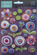 K & Company Marcella by K Gem and Glitter Flower Dimensionals Sticker Embellishments 151406 Marmelade