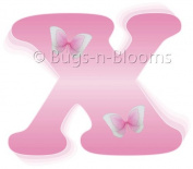Pink Butterfly Alphabet Letter Initial Wall Sticker Vinyl Stickers - Decal Letters for Children's, Nursery & Baby's Room Decor, Baby Name Wall Letters, Girls Bedroom Wall Letter Decorations, Child's Names. Butterflies Mural Walls Decals Baby Shower