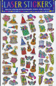 GOLDEN OUTLINE LASER STICKERS- 53 COUNT- BIRTHDAY THEME