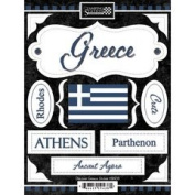 Discover Greece Cardstock Scrapbook Stickers