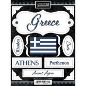 Discover Greece Cardstock Scrapbook Stickers