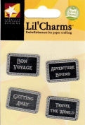 Travel Words Silver Lil' Charms for Scrapbooking