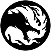 Dragon Circle Sticker Decal 14cm White Vinyl