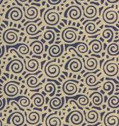Silky Swirl Screenprinted Paper- Indigo Blue Swirls 60cm x 80cm Sheet