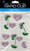 Lavender Hearts Stand-Outs Quilled Scrapbook Stickers