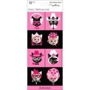 Fun Foil Stickers - Comical Cat Theme Scrapbook Stickers - 32 Pieces