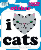 David and Goliath - I Heart Cats Die Cut Vinyl Sticker Decal