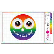 Sticker Rainbow 28 - Smiley - Smilie - Have a gay day - 8,5 x 8,5 cm
