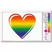 Sticker Rainbow 27 - heart - 9 x 8,5 cm